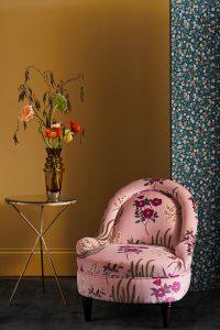 Floral-velvet-armchair